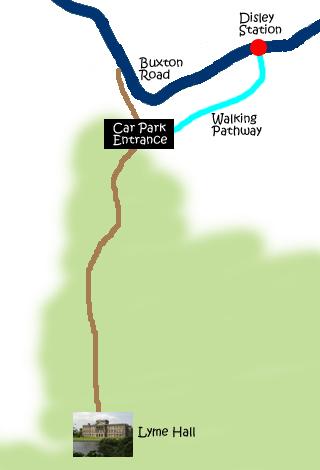 去程從 Disley Station 沿著 Buxton Road 到達 Carpark Entrance,回程時走的是那段 Walking Pathway。
